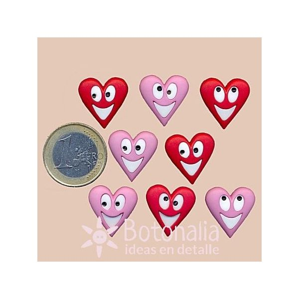 DRESS IT UP BUTTONS ~ HAPPY HEARTS ~  8 SMILEY HEARTS ~ VALENTINE COLLECTION