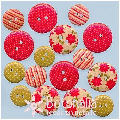 Wooden buttons - Back to Basics Christmas