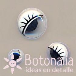 Mobile eyes with eyelashes