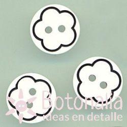 Botón blanco con flor negra 13 mm