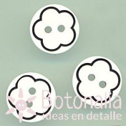 White button with black flower 13 mm