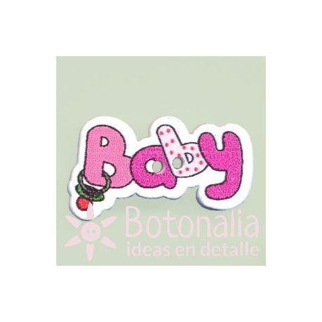 Button 'Baby' in dark pink