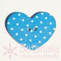 Heart Blue Polka dots 31 mm
