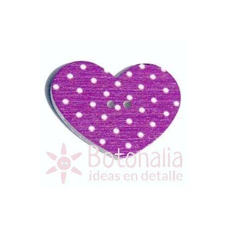 Corazón Violeta Oscuro Lunares 31 mm