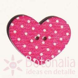 Heart Pink Polka dots 31 mm