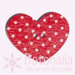 Corazón Rojo Lunares 31 mm