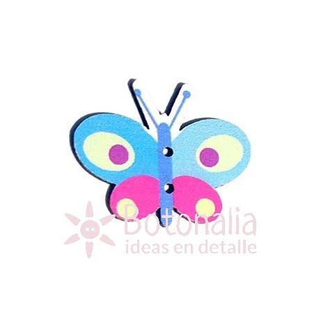 Pink and blue butterfly 30 mm
