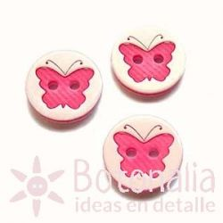 White button with pink butterfly 13 mm