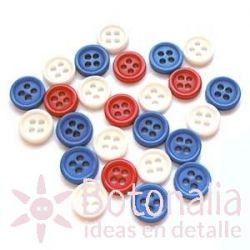 Buttons in red, blue and white