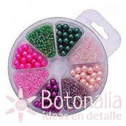 Beads assortment - Green and pink