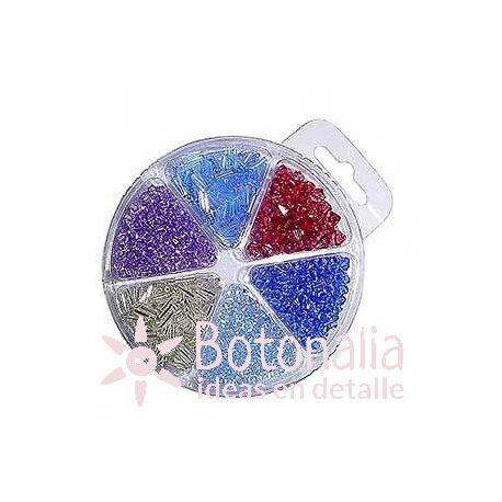 Beads assortment - Blue, red and purple.