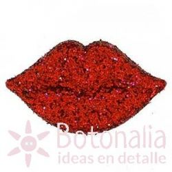 Red glittery lips 20 mm