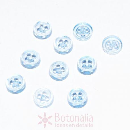 10 Mini botones transparentes - Azul claro