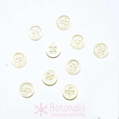 10 Mini botones transparentes - Amarillo
