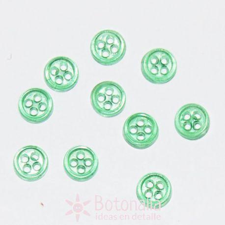 10 Mini botones transparentes - Verde