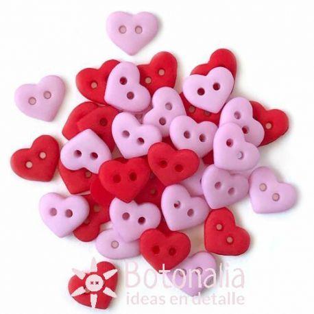 Botones pequeños - Corazones Románticos