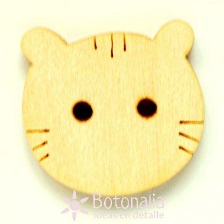 Cabeza de gato simplificada de madera