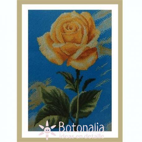 Yellow Rose on Blue