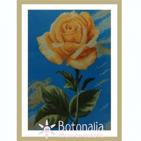 Yellow Rose on Blue