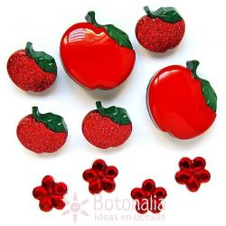 Dress-it-Up - Button fun - Apples and flowers