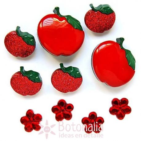 Dress-it-Up - Button fun - Manzanas y flores