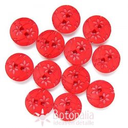 Carved flowers in red
