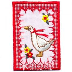 Little frame with a goose in a red ribbon and flowers