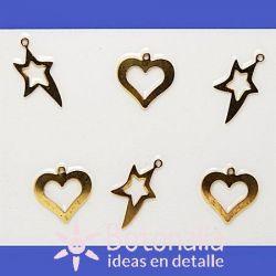 Estrellas y corazones dorados