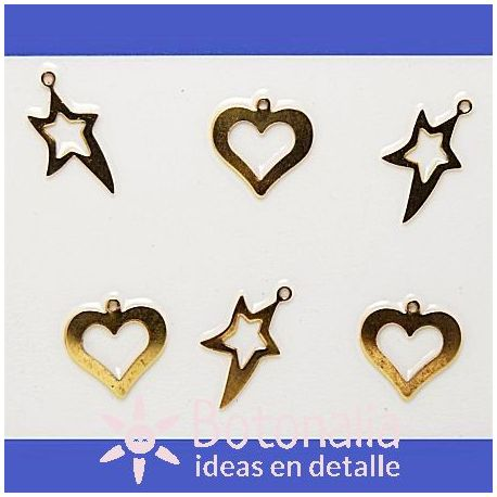 Stars and hearts in golden color