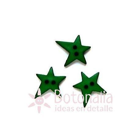 Estrella irregular verde 19 mm