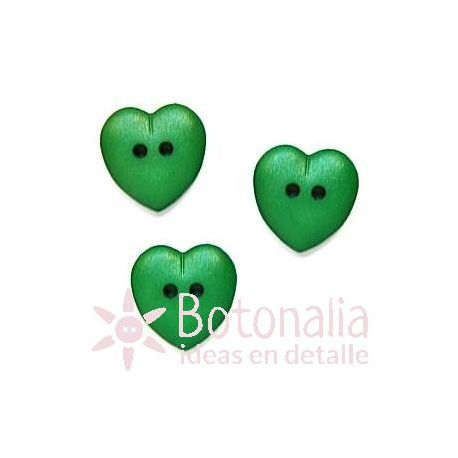 Heart green 15 mm