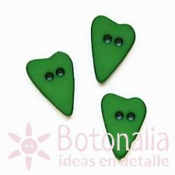 Long-shaped heart green 15 mm