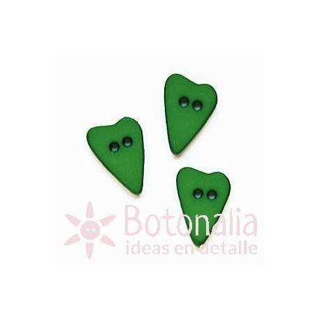 Corazón alargado verde 15 mm