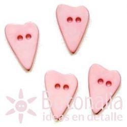Corazón alargado rosa pastel 15 mm