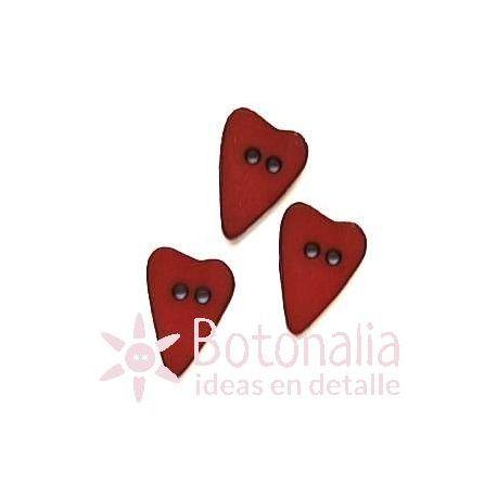 Corazón alargado rojo 15 mm