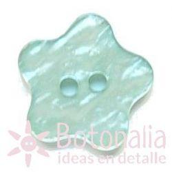 Botón estrella redondeada imitación nácar (azul verdoso)
