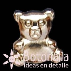 Button Teddy bear in silver metal color