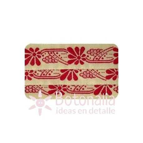 Sajou - Cinta Bordada Art Nouveau en Rojo