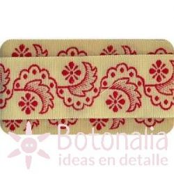 Sajou - Embroidered Ribbon flowers in red