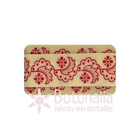 Sajou - Cinta Bordada Flores Rizadas en Rojo