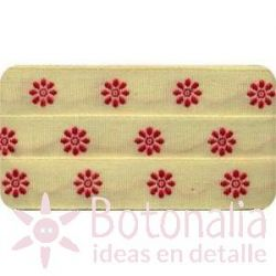 Sajou - Embroidered Ribbon flowers red
