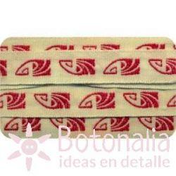 Sajou - Cinta Bordada Art Deco en Rojo