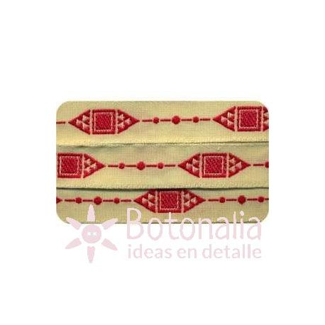 Sajou - Embroidered Ribbon diamonds in red