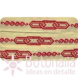Sajou - Embroidered Ribbon chain in red