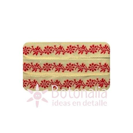 Sajou - Embroidered Ribbon little flowers in red