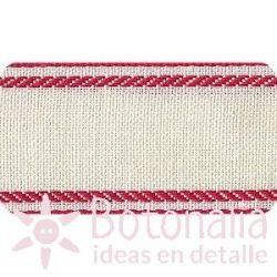White stitcheable tape with red border