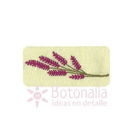 Ribbon with lavender design and cream background