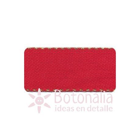 Cross Stitch Aida tape - red with border in golden