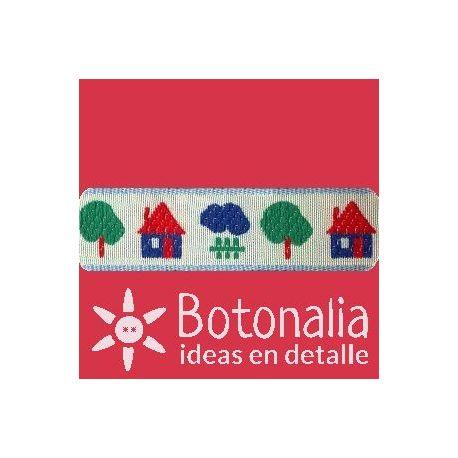 Embroidered Ribbon - Children Design - Little houses