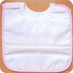 Babero 6 meses para bordar - Con velcro - Vivo vichy rosa